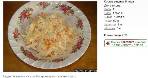Рецепт квашеной капусты с уксусом
