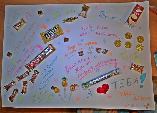 Плакаты с шоколадками своими руками папе