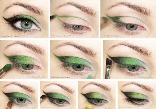 Макияж к зелёному платью