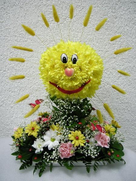 Солнышко из цветов своими руками