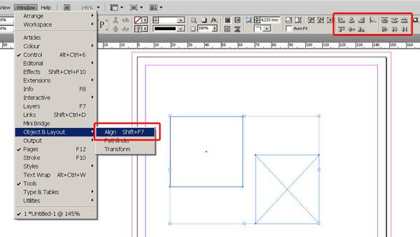 Ответы@Mail.Ru: Где в индизайне находится выравнивание объектов относительно других объектов - где эта панелЬ?