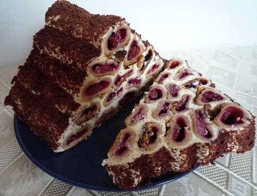 торт с вишней в трубочке рецепт