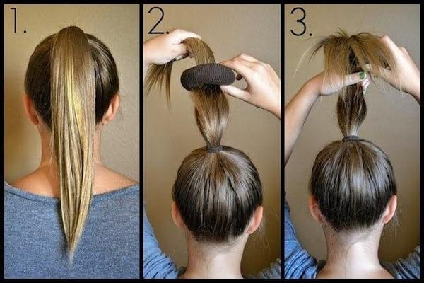 Как сделать пучок из средних волос с помощью резинки