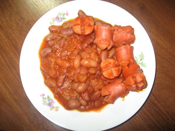 Рецепт фасоль с сосисками