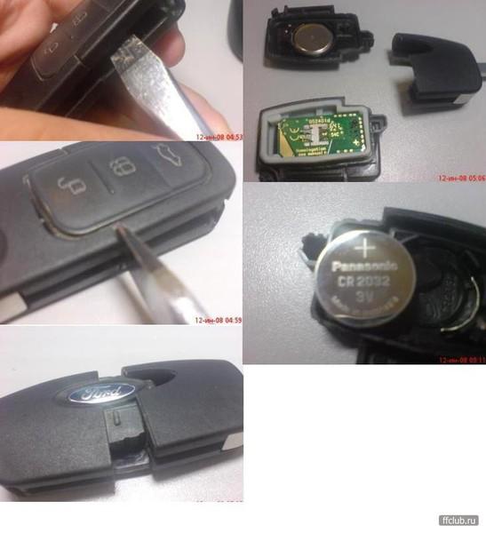 Ответы@Mail.Ru: Как заменить батарейку в ключе зажигания Форд Фокус-2