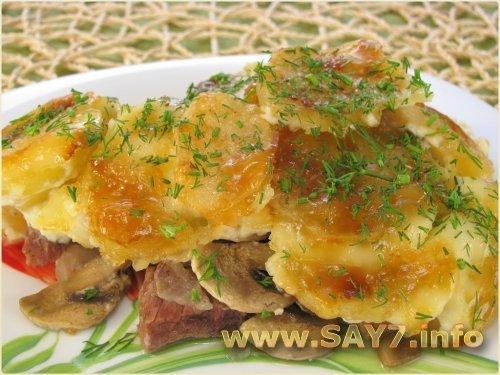 Говядина запеченная в духовке с картошкой в фольге рецепт