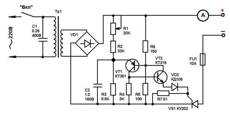 схема зарядного устройства на тиристорах.