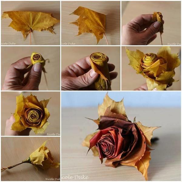 Как сделать букет из кленовых листьев своими руками