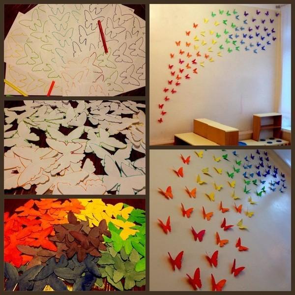 Как сделать бабочки на стене из бумаги