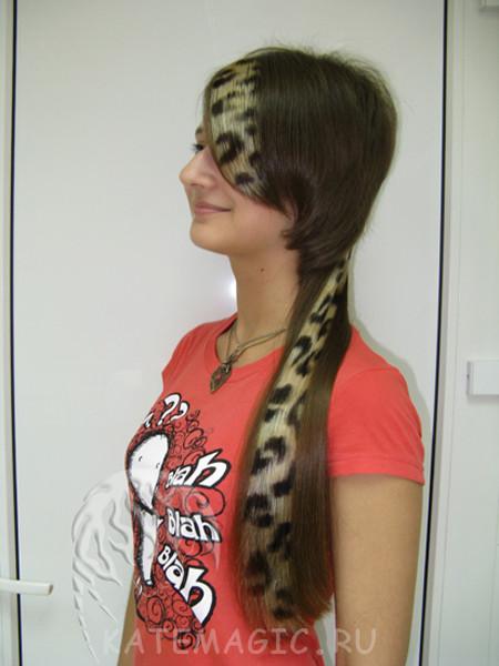 Леопардовые пряди в волосах