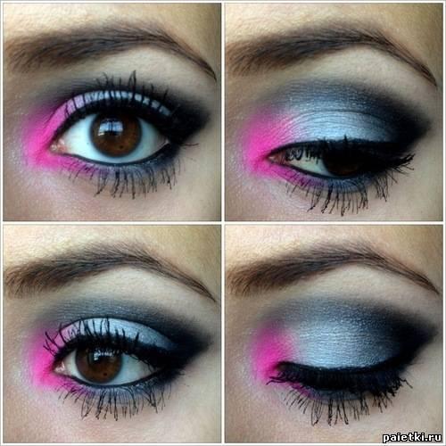 Макияж синий с розовым