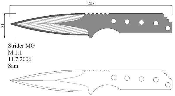 Формы метательных ножей чертежи