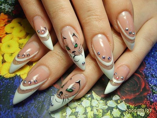 Дизайн рисунки на острых ногтях