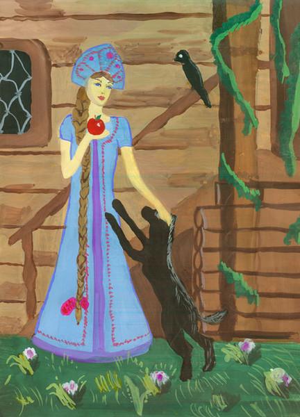 Нарисовать рисунок к сказке сказка о мертвой царевне и семи богатырях