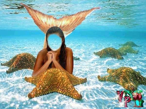 Многослойный женский psd шаблон - очаровательные русалки и удивительный морской пейзаж psd 4000x5312 261 mb автор