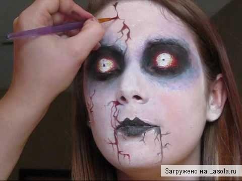 Как сделать грим на хэллоуин в домашних условиях видео