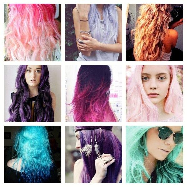 Фото покраска волос разными цветами