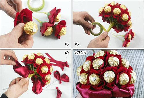 Цветы с конфетами своими руками