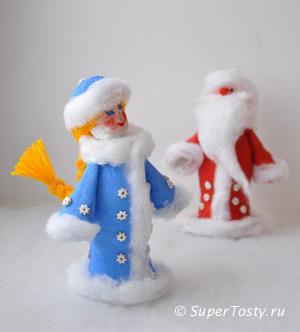 Поделки к новому году снегурочка и дед мороз