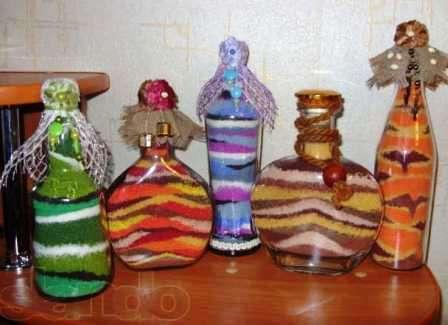 Декоративные бутылки своими руками как сделать