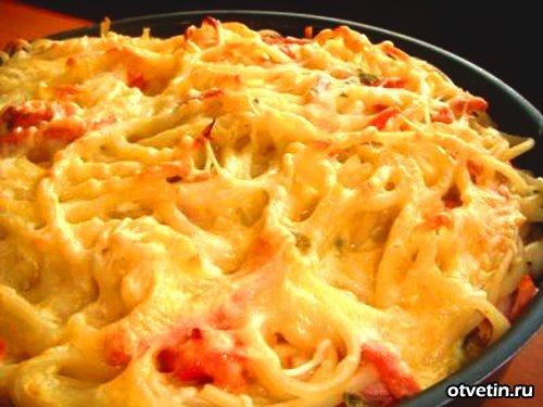 Запеканка из макарон помидор сыра рецепт