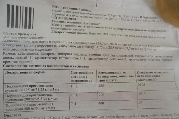 аугментин 200 5 инструкция по применению