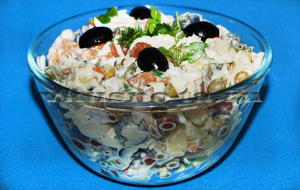 Салат с опятами маринованными пошаговый рецепт с