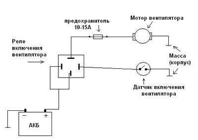 Схема подключения датчика вентилятора через реле