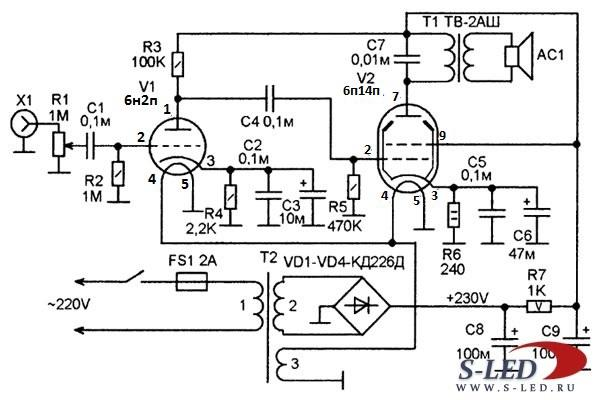 Усилитель звука на лампах своими руками схема