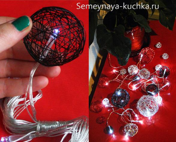 Гирлянда из шаров из ниток своими руками пошаговая инструкция