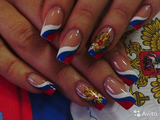 Российский флаг для ногтей