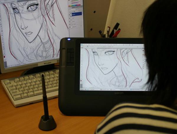 Можно рисовать мультфильмы на графическом планшете