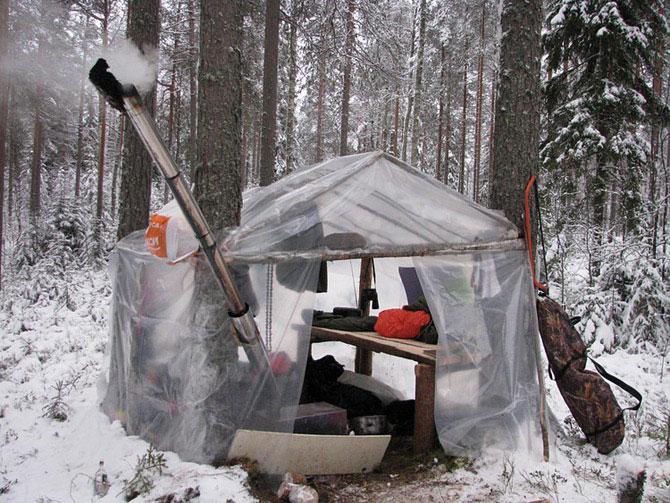 Как сделать теплый шалаш зимой