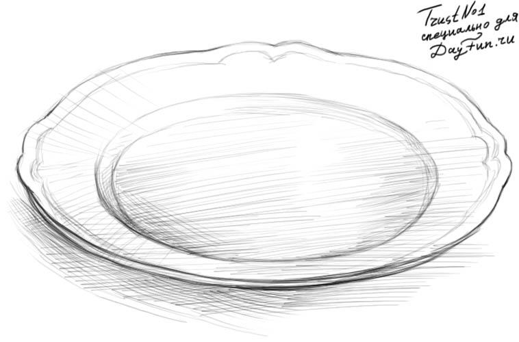 Как нарисовать кашу в тарелке поэтапно
