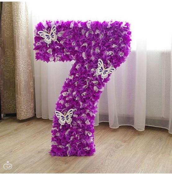 Цветы из гофрированной бумаги для цифры пошаговое фото