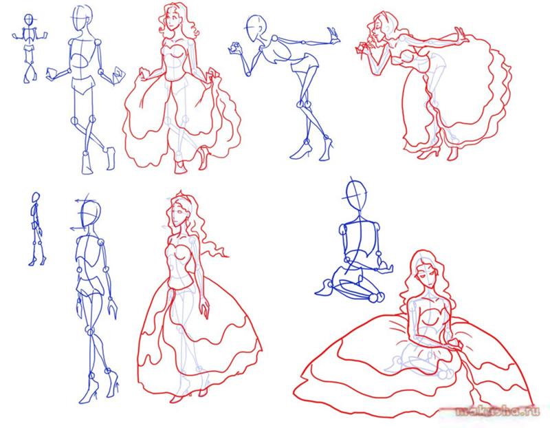 Как нарисовать красивую принцессу карандашом поэтапно