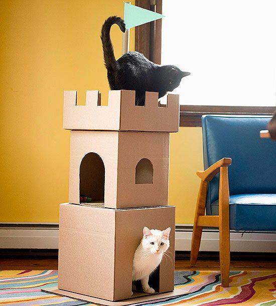 Как сделать домик для котёнка из картона