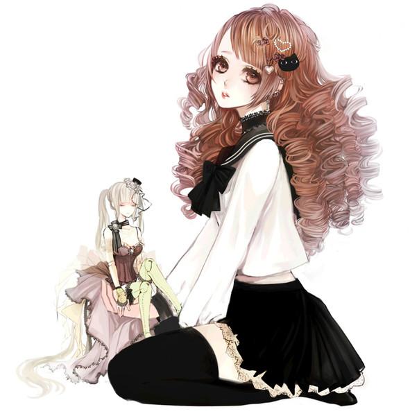 Аниме девушка с длинными каштановыми волосами