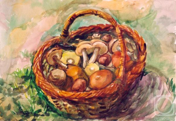 Открытки лукошко с грибами, василий