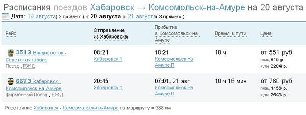 гаджеты для расписание поездов и цены на билеты хабаровск камсомольск квартиру