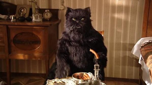 Кот пьет водку
