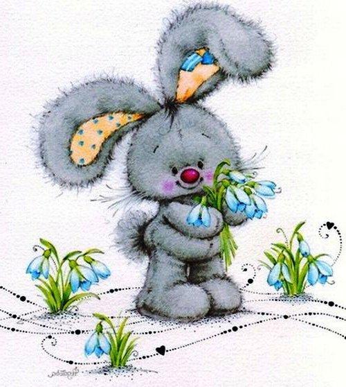 Открытки зайчик с цветами, поздравление