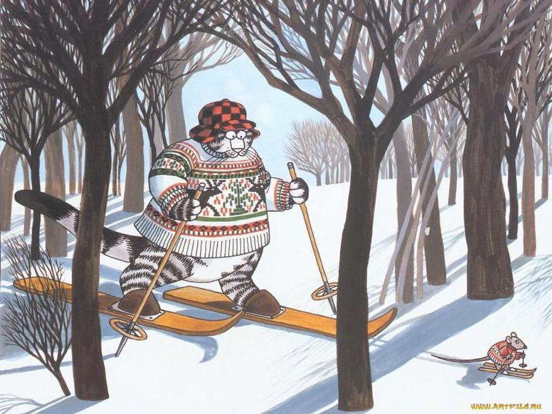 Картинки доброго дня зимние с лыжами