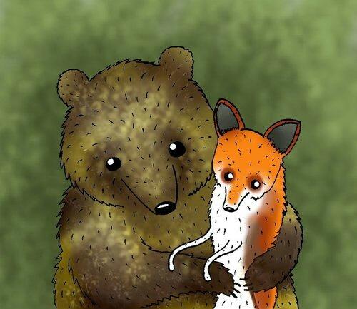 Год картинки, медведь и лиса прикольные картинки