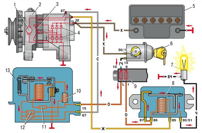 Схема лампочки зарядки