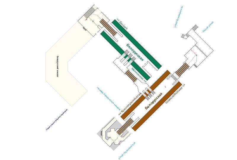 Схема станции метро белорусская
