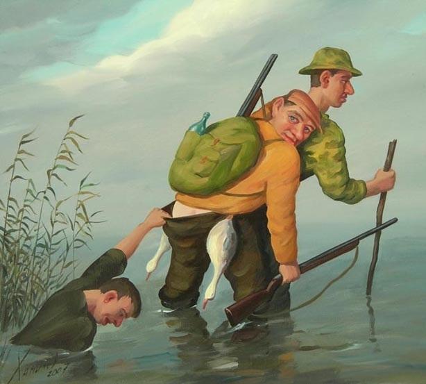 Открытки, прикольные картинки про рыбалку охоту