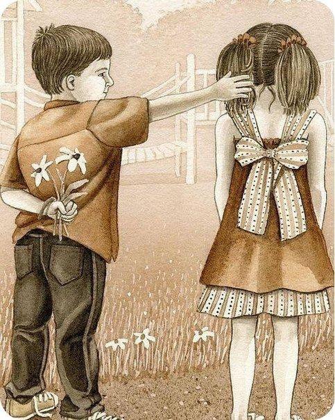 Мальчик дергает девочку за косички картинки