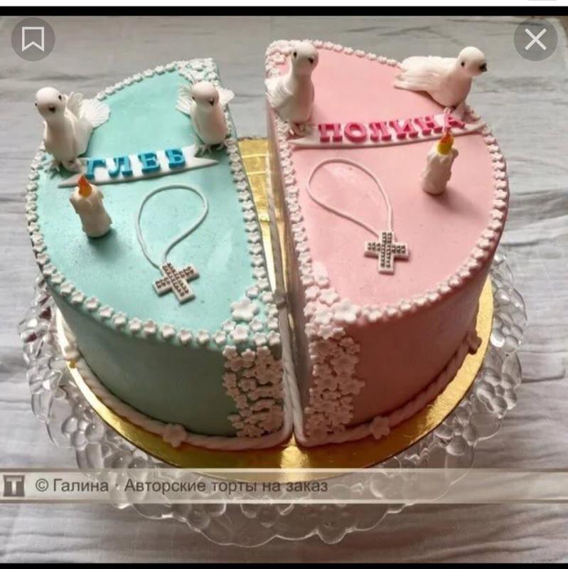 Торт на крещение девочке без мастики