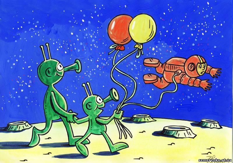 Открытка, прикольные рисунки инопланетян
